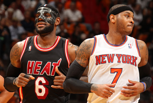 LeBron James y Carmelo Anthony / Getty Images