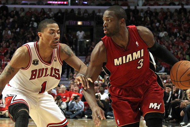 Dwyane Wade y Derrick Rose / Getty Images