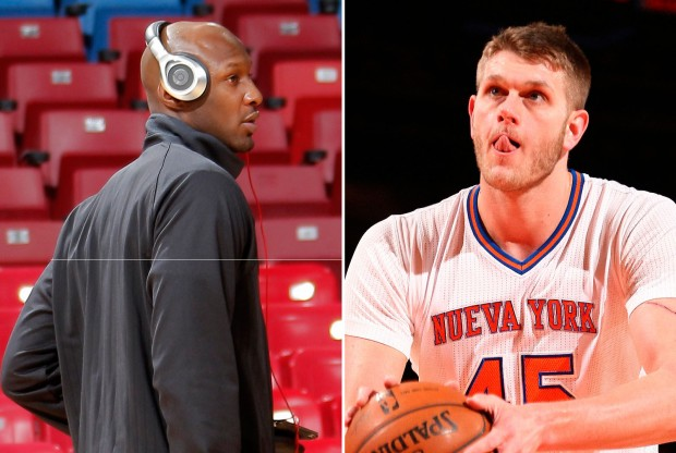 Lamar Odom y Cole Aldrich./ Getty Images