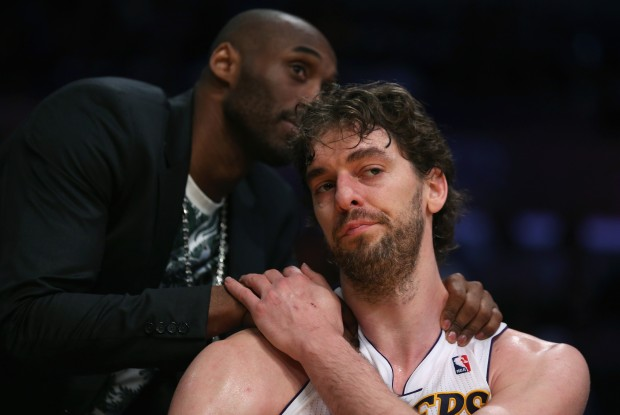 Kobe Bryant y Pau Gasol./ Getty Images