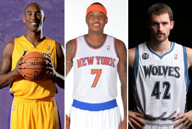 Kobe Bryant, Carmelo Anthony y Kevin Love./ Getty Images