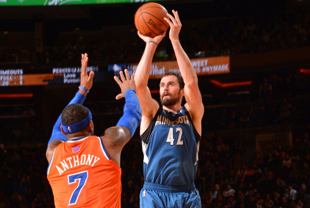 Kevin Love y Carmelo Anthony / Getty Images
