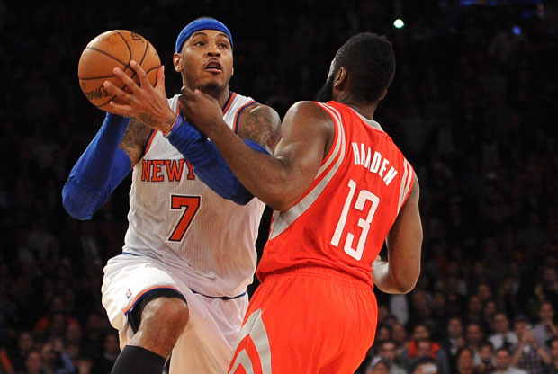 Carmelo Anthony y James Harden / Getty Images
