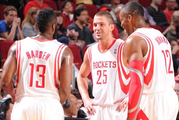 Chandler Parsons, James Harden, Dwight Howard / Getty Images