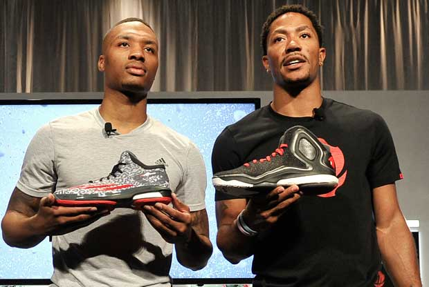 Damian Lillard y Derrick Rose / Getty Images