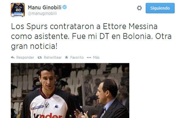 Manu Ginobili y Ettore Messina / twitter.com/manuginobili