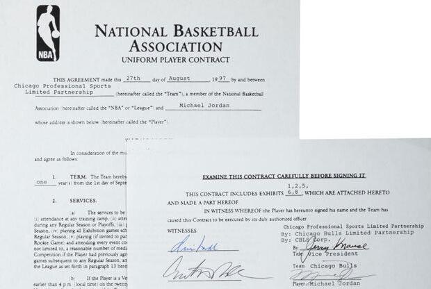 Contrato Jordan / Heritage Auctions
