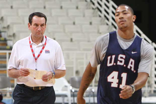 Mike Krzyzewski, Derrick Rose / Getty Images