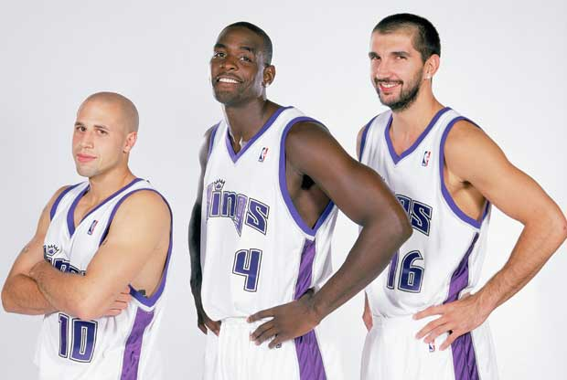 Mike Bibby, Chris Webber, Peja Stojakovic / Getty Images