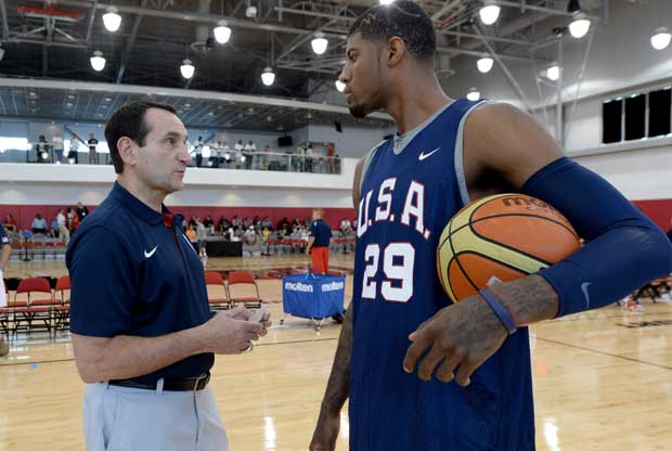 Paul George, Mike Krzyzewski / Getty Images