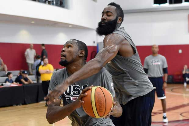 James Harden, Kevin Durant / Getty images