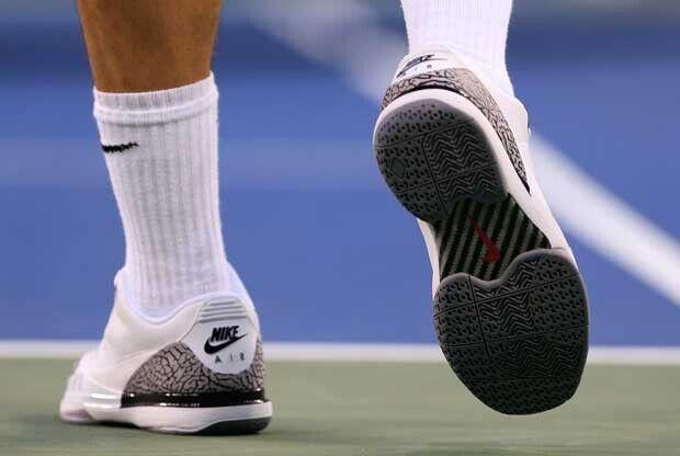 39f26e2d06d Roger Federer calza las Air Jordan 3 x Nike Zoom Vapor 9 en el US Open