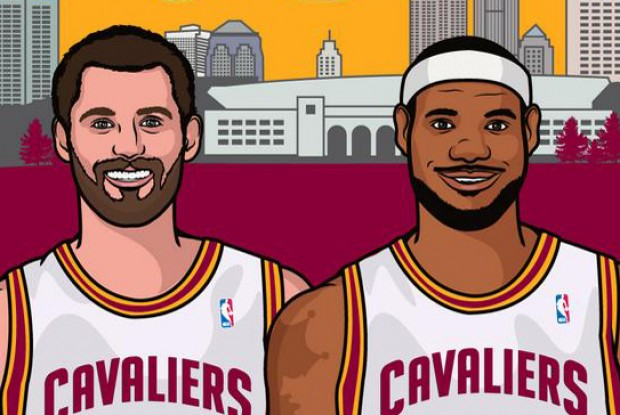 Kevin Love y LeBron James./ ESPN