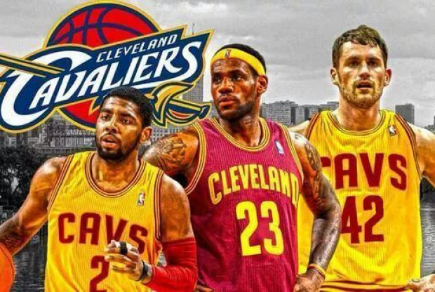 Kyrie Irving, LeBron James y Kevin Love