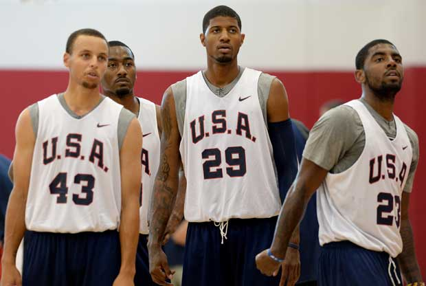 Stephen Curry, Paul George, Kyrie Irving / Getty Images