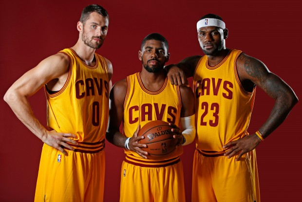Kevin Love, Kyrie Irving y LeBron James./ Getty Images
