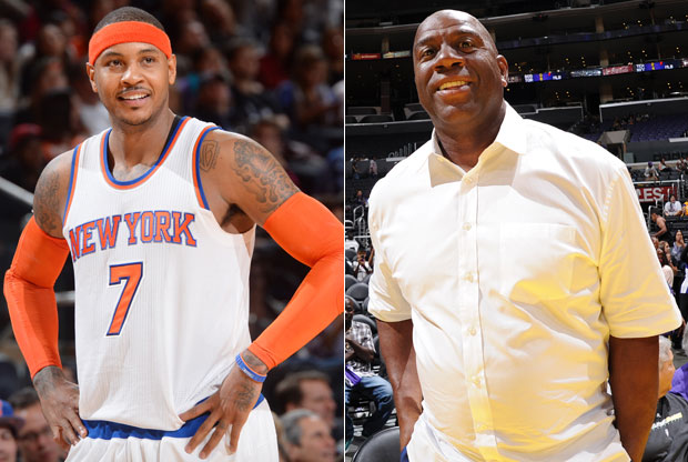 Carmelo Anthony y Magic Johnson / Getty Images