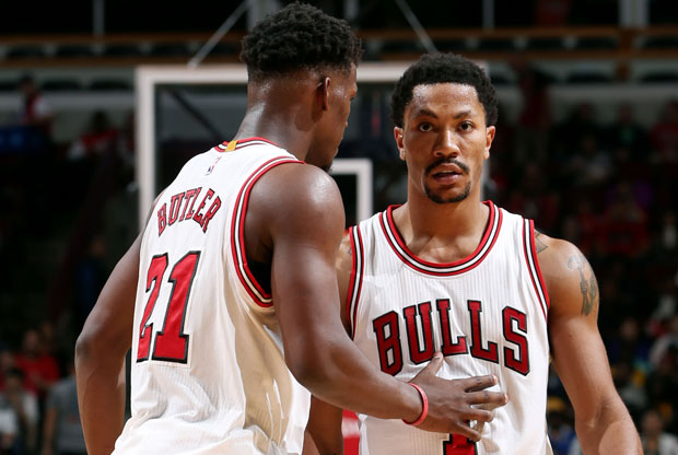 Jimmy Butler y Derrick Rose / Getty Images