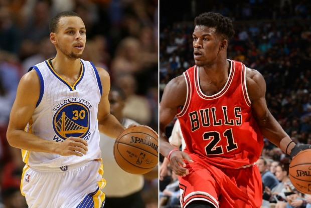 Stephen Curry y Jimmy Butler./ Getty Images