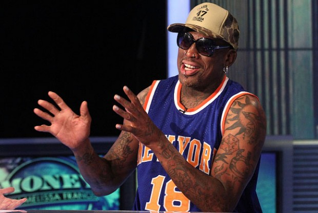 Dennis Rodman con la camiseta de New York Knicks