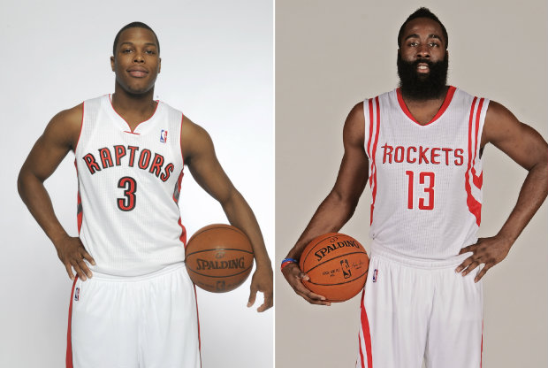 Kyle Lowry y James Harden./ Getty Images