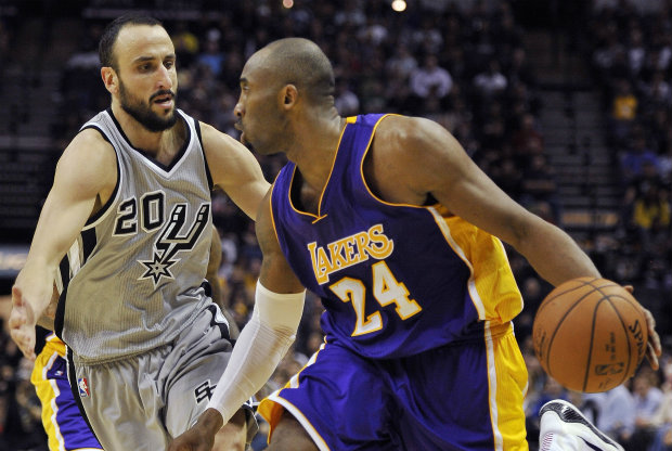 Manu Ginobili y Kobe Bryant./ Getty Images