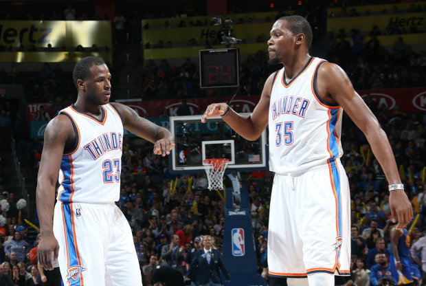 Dion Waiters y Kevin Durant./ Getty Images