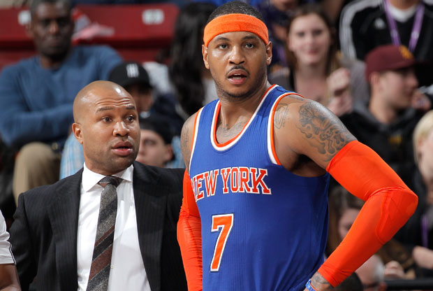 Derek Fisher y Carmelo Anthony / Getty Images