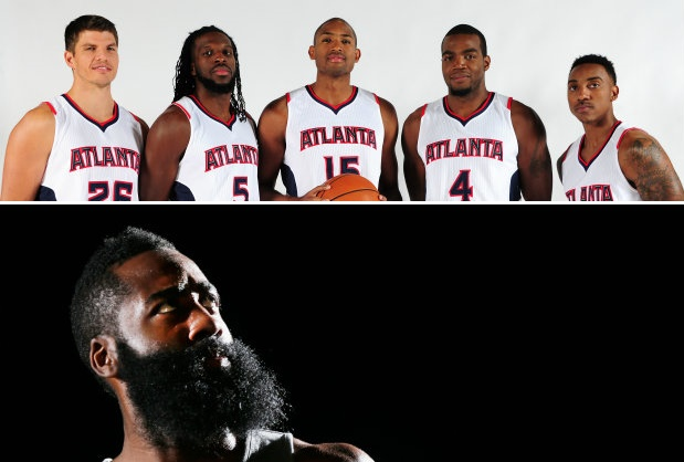 Atlanta Hawks y James Harden./ Getty Images