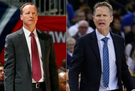 Los entrenadores de Atlanta Hawks y Golden State Warriors
