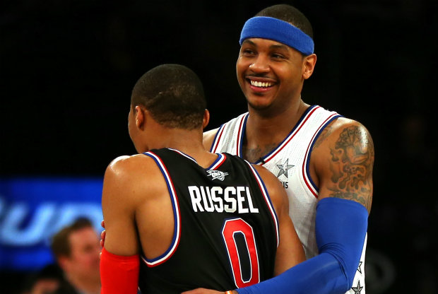 Russell Westbrook y Carmelo Anthony./ Getty Images