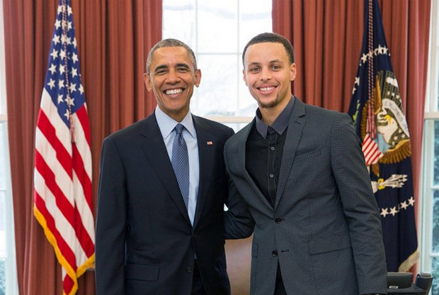 Stephen Curry y Barack Obama