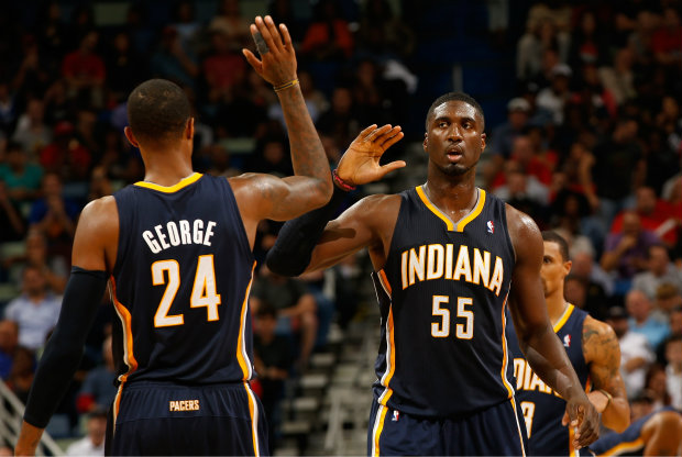 Roy Hibbert y Paul George./ Getty Images
