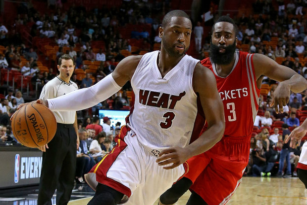 Dwyane Wade y James Harden./ Getty Images