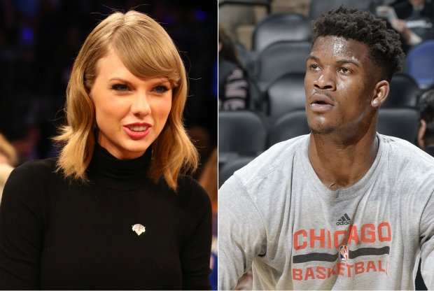 Jimmy Butler y Taylor Swift./ Getty Images