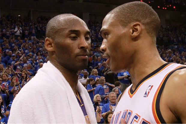 Russell Westbrook y Kobe Bryant./ Getty Images