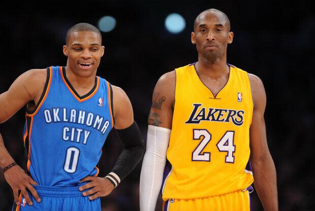 Kobe Bryant y Russell Westbrook./ Getty Images
