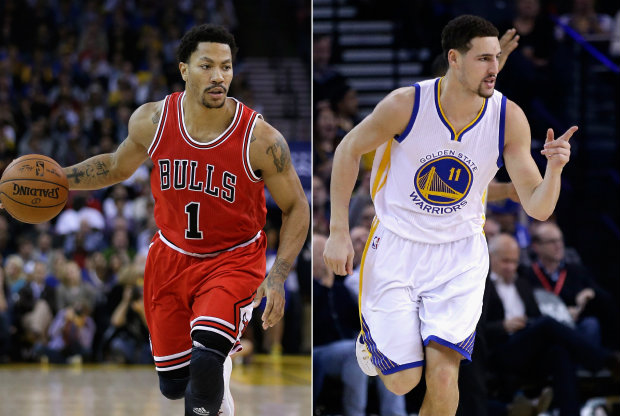 Derrick Rose y Klay Thompson./ Getty Images