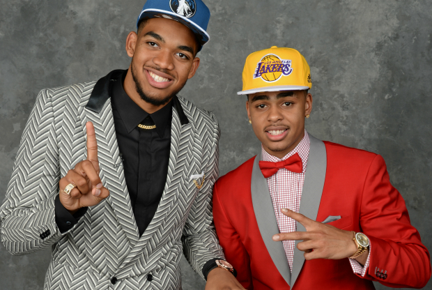 Karl-Anthony Towns y D'Angelo Russell / Getty Images
