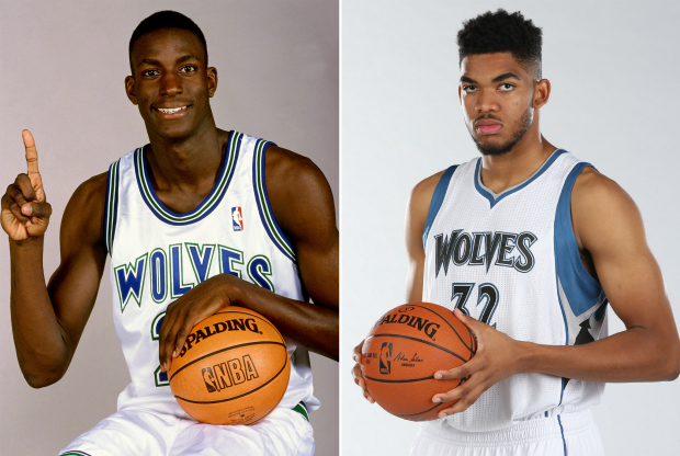 Kevin Garnett y Karl-Anthony Towns / Getty Images