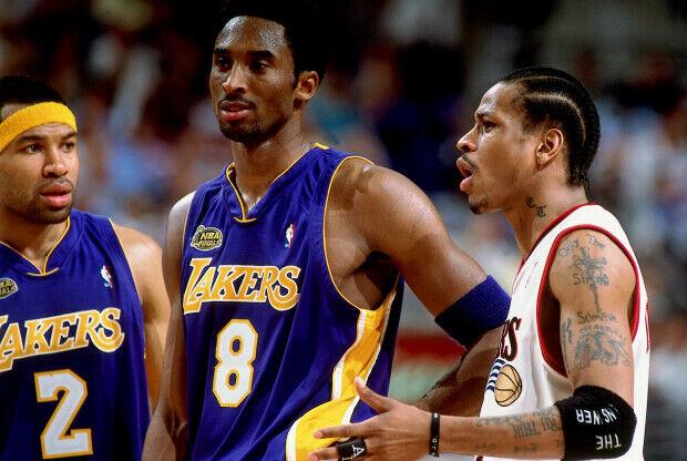 Derek Fisher, KObe Bryant y Allen Iverson / Getty Images