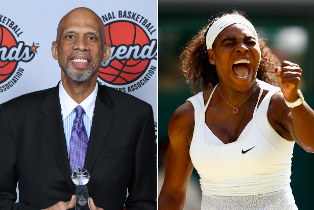Kareem Abdul-Jabbar y Serena Williams / Getty Images