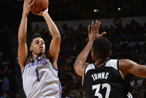 Karl-Anthony Towns vs. D'Angelo Russell / Getty Images