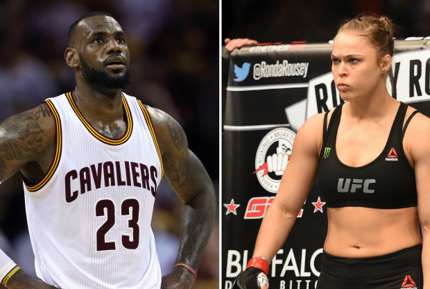 LeBron James y Ronda Rousey / Getty Images