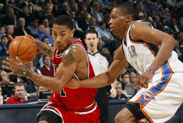Derrick Rose y Russell Westbrook / Getty Images
