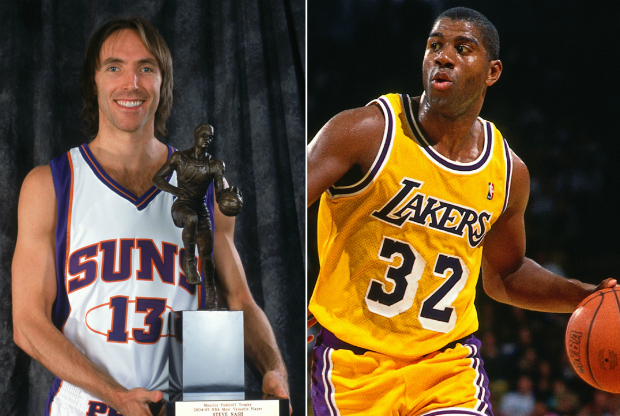 Steve Nash y Magic Johnson / Getty Images