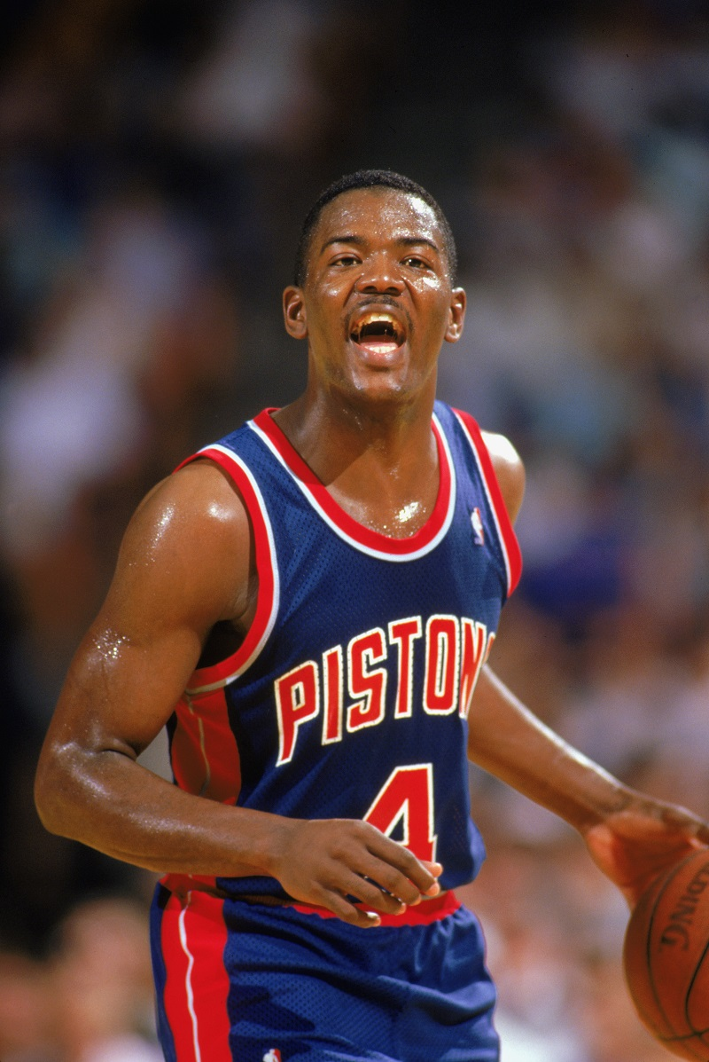 Joe Dumars moves the ball