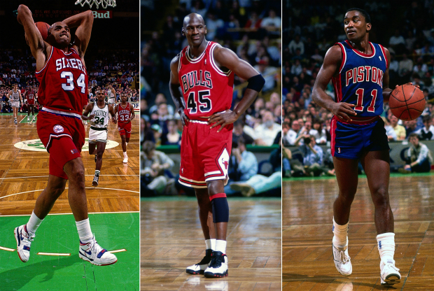 Charles Barkley, Michael Jordan y Isiah Thomas / Getty Images