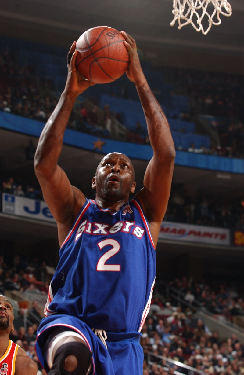 Hall of Famer Moses Malone #2 participates in the 989 Sports - All-Star Hoop-It-Up tournment during All-Star weekend 2002