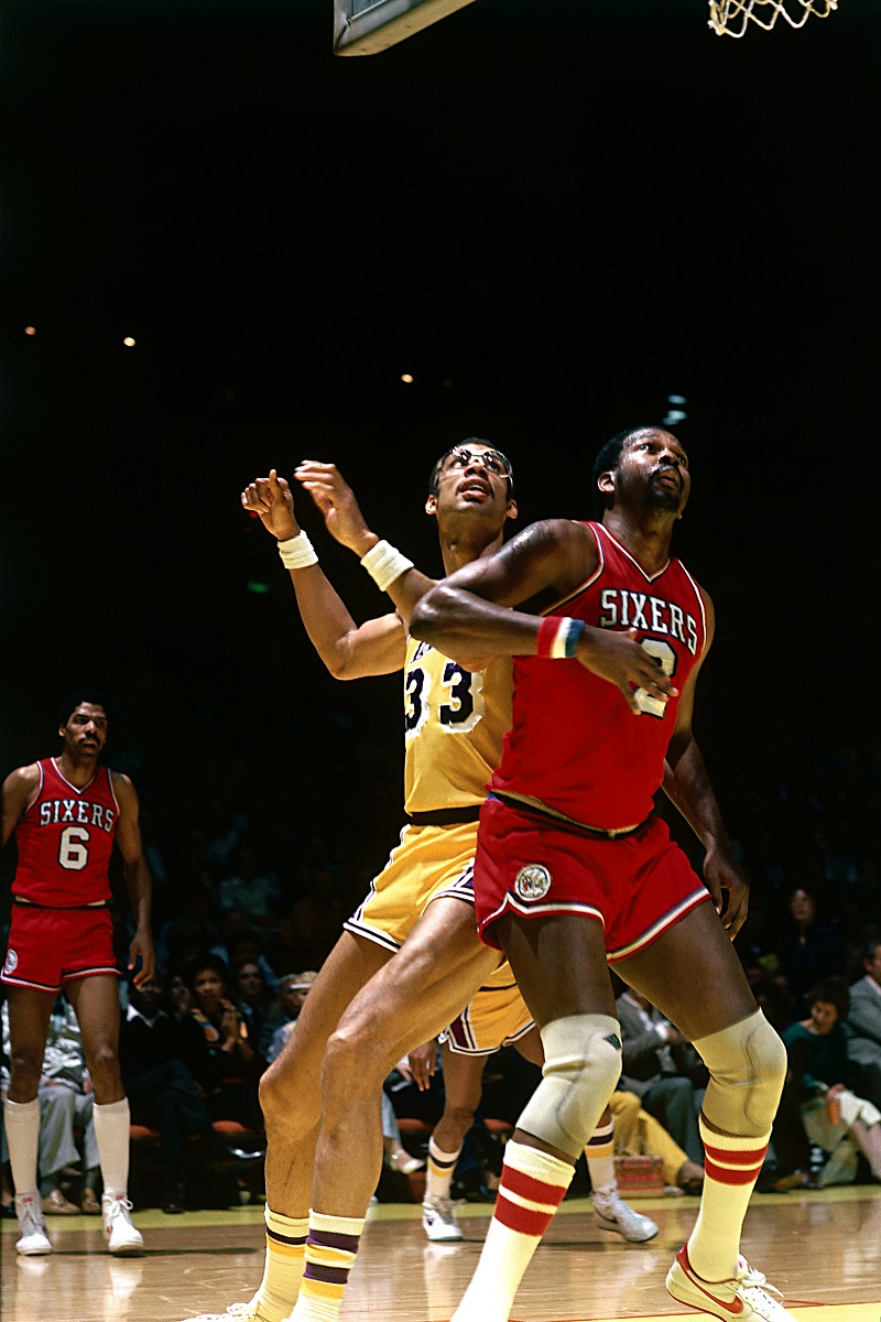 Moses Malone and Kareem Abdul Jabbar Action Portrait